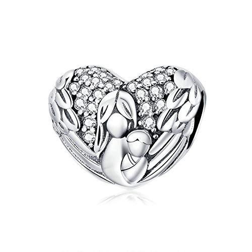 Abalorio de plata de ley 925 con forma de corazón y amuleto de la familia, para aniversario, día de Acción de Gracias para pulsera Pandora a