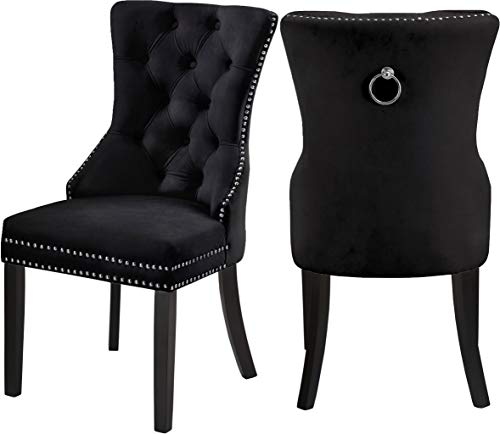 Meridian Furniture Nikki Collection Modern | Contemporary Velvet Upholstered Dining Chair with Wood Legs, Button Tufting, and Chrome Nailhead Trim, Set of 2, 23' W x 23' D x 40' H, Black