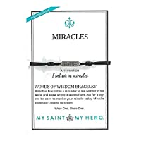 My Saint My Hero Miracles Words of Wisdom ブレスレット シルバートーン ブラックコード
