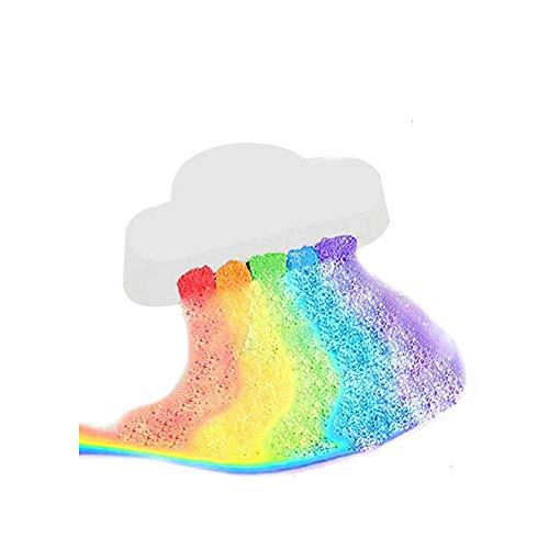 TEEROVA Geschenkbox mit Regenbogen-Badebomben umwickelt - Bunte Regenbogenwolken-SPA-Badebomben, auf dem Wasser schweben Lebendige Regenbogenfarbe freisetzen, trockene Haut mit Feuchtigkeit versorgen