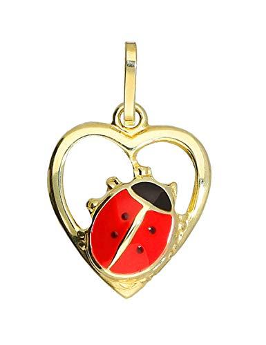 MyGold lieveheersbeestje hanger (zonder ketting) geelgoud 333 goud (8 karaat) hart hartje 18 mm x 11 mm gouden hanger kinderhanger kettinghanger Lady Beetle Heart V0003676