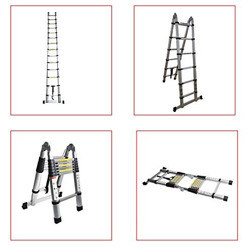 netuera Aluminum Telescopic Extension Ladder A-Frame Portable Multi-Purpose Ladder A-Shape Ladder Collapsible Ladder 12.5FT 14.5FT 16.5FT Multi-Use Non-Slip 330LBS Capacity