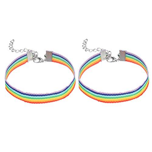 Amosfun 2 Stück Regenbogen-Armband bunte Armbänder LGBT Pride Armbänder Gay Lesbische Paare Liebhaber Freundschaftsarmband für Paraden Regenbogen Festival