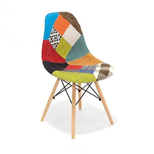 Customobel Wooden Patchwork Silla tapizada con Patas de...