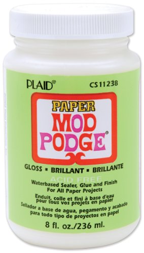 Mod Podge 8 oz Paper Gloss Waterbase Sealer, Glue and Finish, Clear