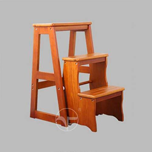 TYJIAJU Brisk Simple Home Klappstühle Dual Use Massivholz Trittleiter Indoor Vier Stufen Leiter Stuhl...