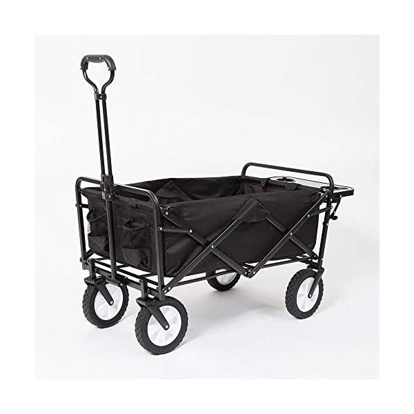 Mac Sports Collapsible Folding Outdoor Garden Utility Wagon Cart w/Table, Black