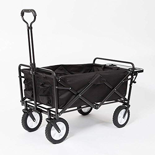 Mac Sports Collapsible Folding Outdoor Garden Utility Wagon Cart w/Table, Black