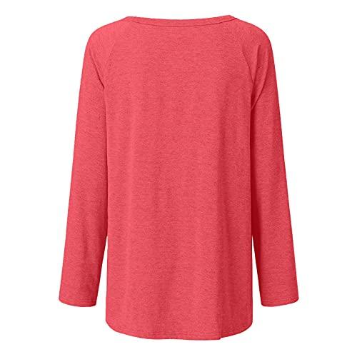 FOTBIMK Las mujeres sol impreso camiseta de manga larga cuello redondo camiseta de estilo largo Tops, rosso, 3XL