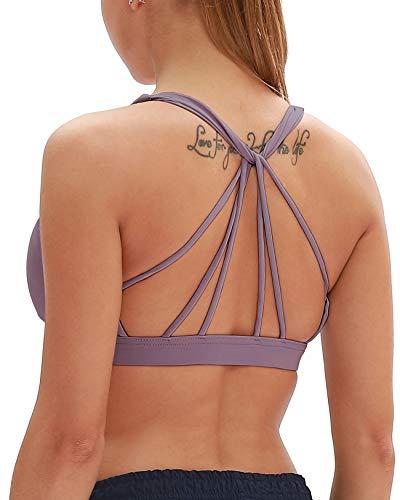 icyzone Yoga Sport-BH Damen Bustier mit Gepolstert - Atmungsaktiv Ohne Bügel Sports Bra Top (M, Mauve)