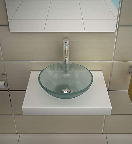 Ronde glazen wasbak Ø 38 cm van sterk melkglas ESG 12 mm | elegant en mooi vormgegeven uiterlijk | glazen wasbak van de beste kwaliteit en afwerking | Alpenberger Design