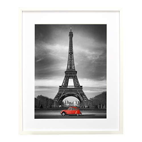 BD ART Marco de Fotos Blanco 50 x 70 cm con Paspartu para Fotos 40 x 50 cm, Vidrio acrílico