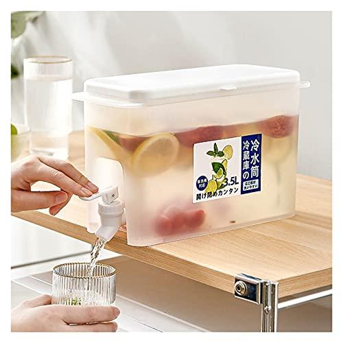 Hervidor de Agua fría con Grifo y Tapa en el refrigerador, Cubo de Jugo Reutilizable de Gran Capacidad de 3,5 l, Cubo de Limonada, Jarra de Agua Helada, Tetera de Frutas