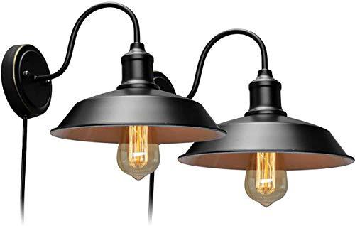 ZAMAX Luces de pared industriales, lámpara de pared con enchufe retro con bombilla LED, alambre duro negro, lámpara de pared industrial retro, adecuada para dormitorio interior, 2 piezas, juego de lámparas de pared