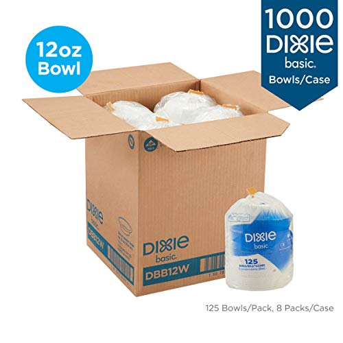 Dixie Basic 12oz. Light-Weight Disposable Paper Bowls by GP PRO (Georgia-Pacific), White, DBB12W, 1000 Count (125 Bowls Per Pack, 8 Packs Per Case)