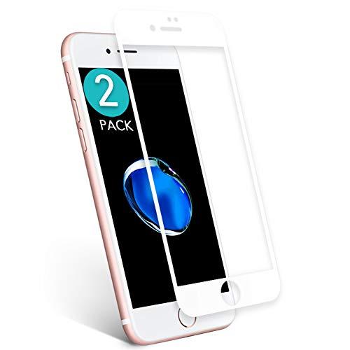 aiMaKE Protector de Pantalla para iPhone 7 Plus, 3D Pantalla Completa Cristal Templado Pantalla Protectora Anti BLU Ray,Cubre la Pantalla Completa Perfectamente para iPhone 7 Plus 5.5' Blanco