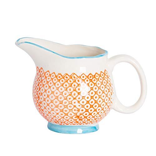 Pot à Lait/à sauces/à crème à crème à Motifs en Porcelaine - Orange/Bleue - 300 ML
