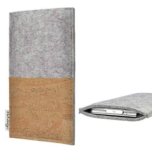 flat.design Handy Tasche Evora kompatibel mit BlackBerry KEY2 Red Edition handgefertigte Handy Hülle Kork Filz Hülle fair Kartenfach
