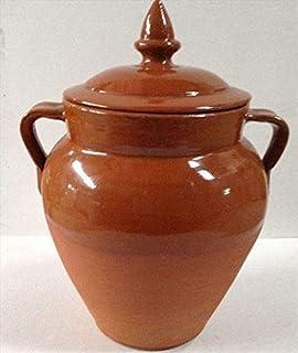 Tinaja de barro para aceitunas con tapa 16l. 50cm.