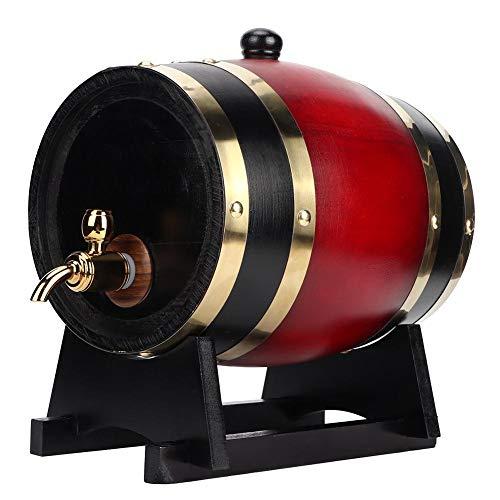 Barril de Cerveza de Madera, 3L Barril de Roble Vintage Cerveza Barril de Vino Cubo de Almacenamiento Doméstico Dispensador de Barril de Vino Tinto Barriles de Cerveza para Whisky, Bourbon(Vino rojo)
