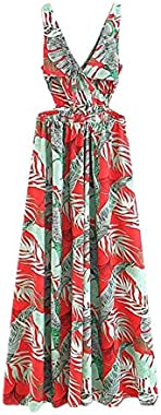 Floerns Women Sexy Sleeveless V-Neck Split Summer Beach Floral Print Maxi Dress