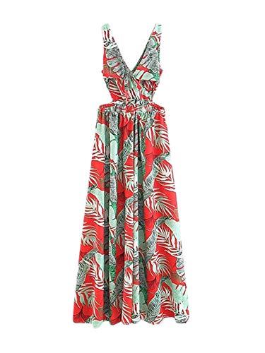 Floerns Women Sexy Sleeveless V-Neck Split Summer Beach Floral Print Maxi Dress Multicolor S