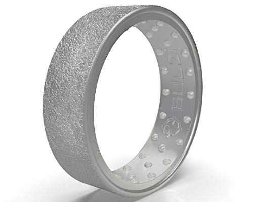 BULZi Wedding Bands, Massaging Comfort Fit Premium Silicone Ring with Airflow, Men's and Women's Rings, Breathable Flexible Work Safety Comfort (Silver Hammered, Size 9 - (7mm Width Band))