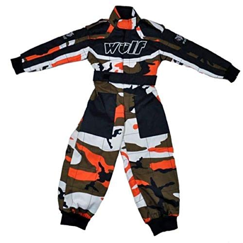 Wulfsport Kinder Kart Race Suit One Piece Dirt Pit Bike LT PW Junior Go-Karting Kinder Overall Camo Orange, Camo Orange, L (9-10 Years)