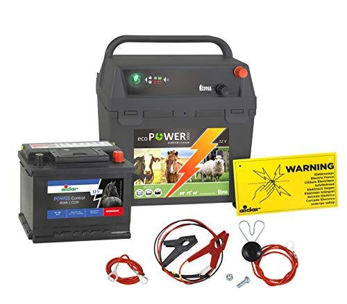 Eider Weidezaungerät ecoPOWER1000-12 Volt mit 80 Ah Akku - Gerät mit Tiefentladeschutz & praktischen Batteriefach