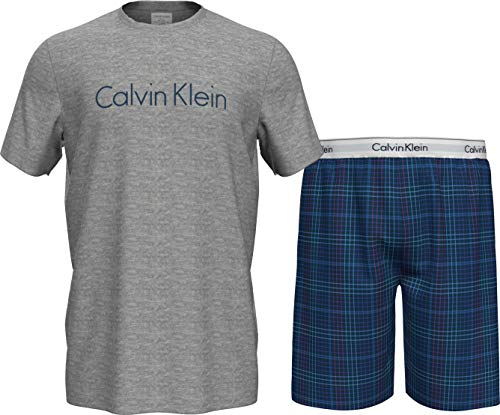 Calvin Klein S/S Short Set Juego de Pijama, Parte Superior Gris H/Somerset Plaid Inferior, L para Hombre
