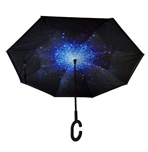 Umgedrehter Regenschirm mit C-Griff. Reverse Stockschirm/Sonnenschirm mit Doppelschicht. Winddicht/Windfest und UV-Beständig- Schützt vor Regen, Sturm und Sonne.