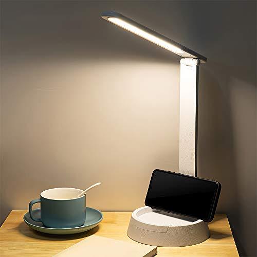 ZONJIE Lámpara Escritorio LED regulable, Lámpara de noche para Mesa USB Recargable, con Soporte para teléfono (3 Modos, Función de Memoria, Control Táctil), es plegable de 180 Grados