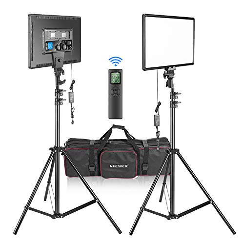 Neewer 90W LED Video Lighting with 2.4G Wireless Remote Kit:2-Pack Dimmable Bi-Color 18' LED Panel+ Light Stand,3200K-5600K 45W 4800LM CRI97+ Light for Photography Video Shooting Live Stream YouTube