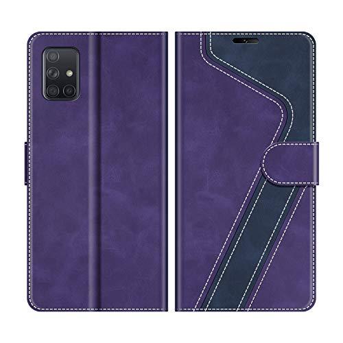 MOBESV Handyhülle für Samsung Galaxy A51 Hülle Leder, Samsung Galaxy A51 Klapphülle Handytasche Hülle für Samsung Galaxy A51 Handy Hüllen, Violett/Dunkelblau