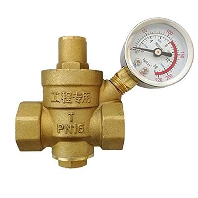 "Water Pressure Regulator Valve, Brass Lead-free Adjustable 3/4"" 20mm Water Pressure Reducer Reducing Valve with Pressure Gauge Bar/Psi by Sxstar"