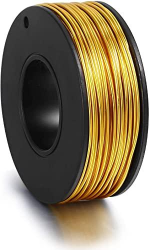 ALEXCRAFT Alambre de oro para joyería chapado en 18 quilates, resistente al desgaste, alambre de aluminio para hacer joyas (72 pies, 1 mm)