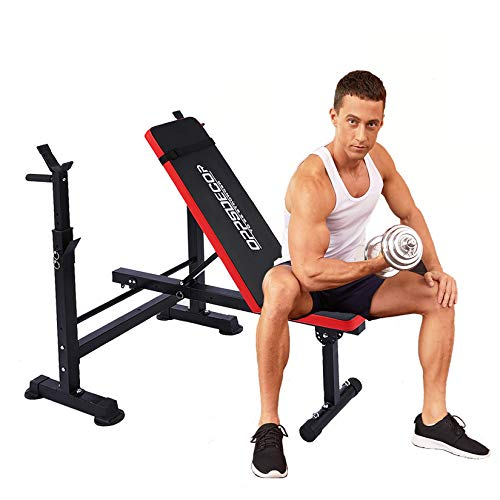 Adjustable Weight Bench Incline Seat Multi-Function Folding weight benches Fitness Workout Barbell Rack for Strength Training Home Gym (Red)