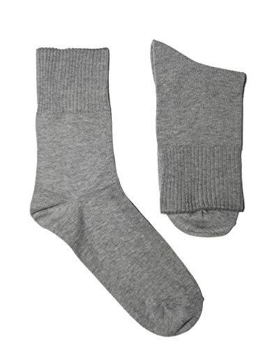 Weri Spezials Damen Ges&heits Socken Baumwolle mit weichem Gummirand Diabetiker (39-42, Grau mel.)