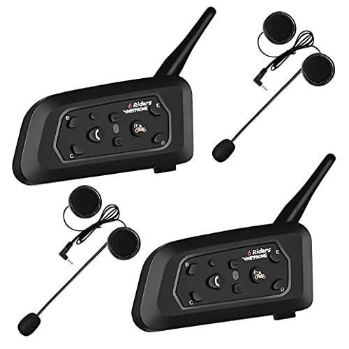 ESTGOUK 2 × V6 1200M Bluetooth Casque de Moto Interphone, Casque Interphone pour Moto Connecter Jusqu'à 6 Riders...