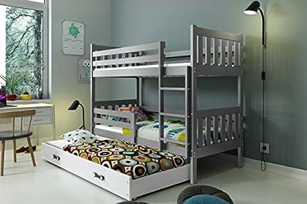 INTERBEDS LITERA Infantil Triple (3 Camas) 190x80, CARINO, colchones incluidos! (Gris)