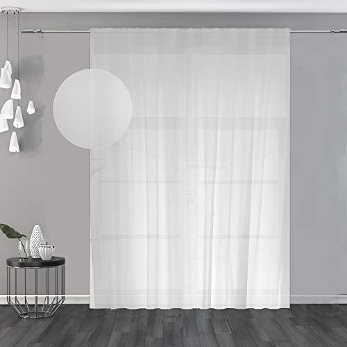 domus&trend Alina - Cortina blanca con trama ligera y elegante, con bordados y acabados de costura con plomo; ideal para cualquier ambiente de la casa, fabricada en Italia