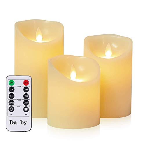 Da by Velas LED, 3 Llama LED parpadeante (10 cm, 12,8 cm, 15,2 cm), Vela sin llama de 300 horas y control remoto de 10 botones.[Clase de eficiencia energética A]