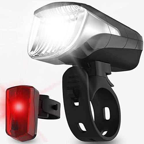 Velmia Fahrradbeleuchtung [Set] - LED-Fahrradlicht mit bis zu 8,5h Leuchtdauer & 3 Helligkeitsstufen - wiederaufladbar & StVZO-zugelassen inkl. Anzeige für Akku & Lichtstärke - werkzeuglose Montage