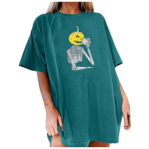 Camisetas Mujer para Halloween Camisas Mujer Manga Corta Color Sólido con Estampado Esqueleto de Calabaza...