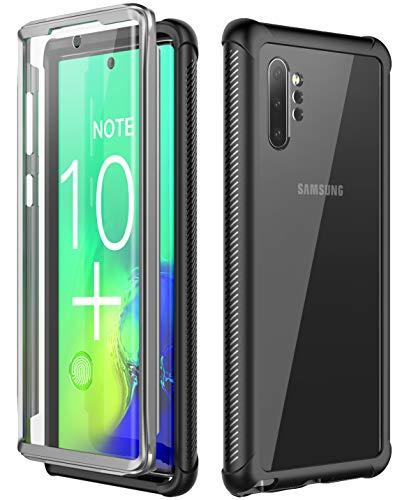 SPIDERCASE Kompatible mit Samsung Galaxy Note 10 + Plus Hülle, 360 Grad Transparent mit Eingebautem Bildschirmschutz Stoßfest Heavy Duty Handyhülle für Samsung Galaxy Note 10+ Plus 6,8 Zoll (Schwarz)