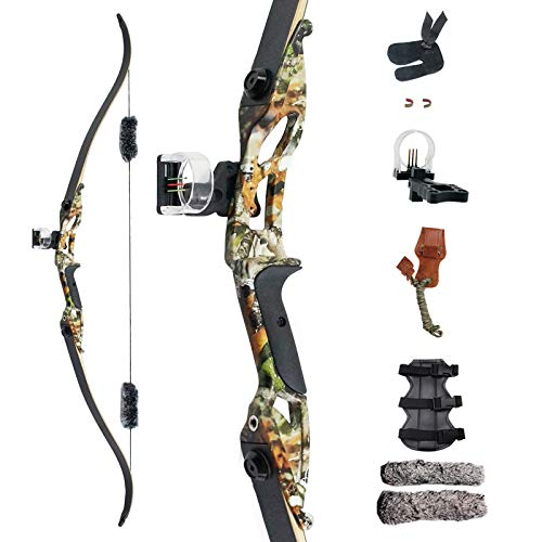 """SinoArt 56"""" Recurve Bow with 30"""" Max Draw 30 35 40 45 50lb Draw Weight Right Hand Outdoor Hunting Bows&Arrows Archery Set (Camouflage) (40LB)"""