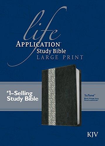 KJV Life Application Study Bible, Second Edition, Large Print (Red Letter, LeatherLike, Black/Vintage Ivory Floral)