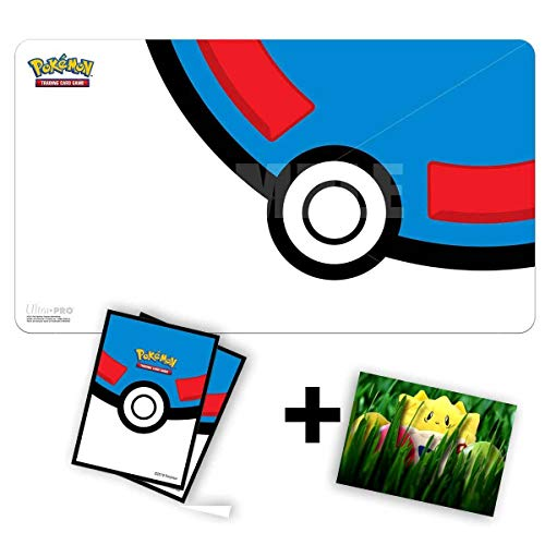 Lively Moments Pokemon Karten Spielmatte und 65 Hüllen in Superball-Optik / Spielunterlage / Game Mat /Schutzhüllen Ultra-PRO + GRATIS Grußkarte
