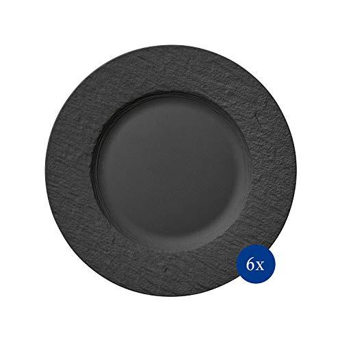 Villeroy & Boch - Manufacture Rock, Piatto da pranzo, 6 pezzi, 27 cm, Porcellana Premium, adatto a lavastoviglie e microonde, nero