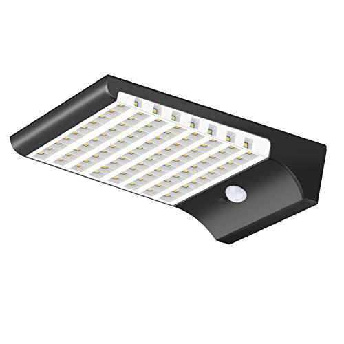Zonne-verlichting,KINGLEAD 98 LED-wandlamp op zonne-energie Bewegingssensor 3 slimme modi Waterdicht met 120 graden groothoek Draadloos Nacht Tuinlicht Veiligheidsgoot Schijnende lichten